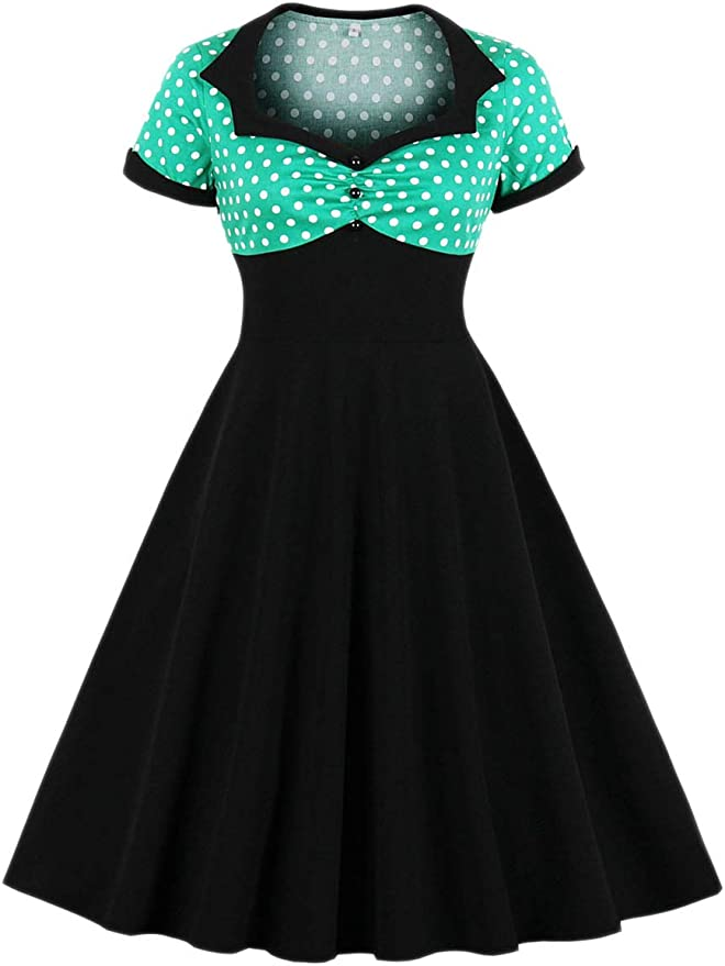 LunaJany Womens Rockabilly Vintage Polka Dot Fit and Flare Swing Cocktail Dress