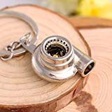 Gold Happy ping Car Key Chains Automotive Turbine Pressure Booster Keychain Metal Car Keyring Pendant 3 Colors