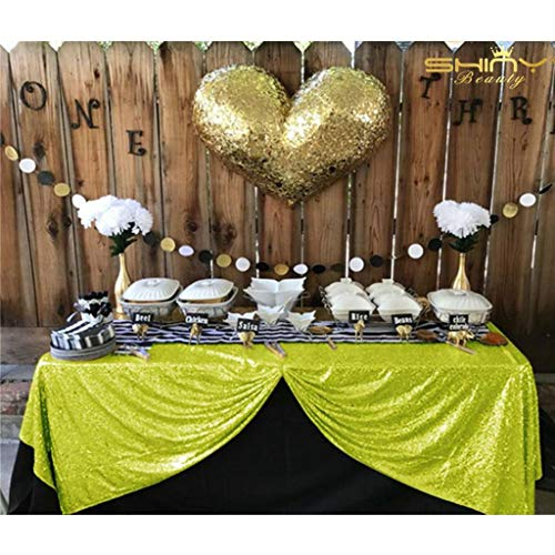 ShinyBeauty Sequin Tablecloth Lime Green-60x102-Inch Rectangle Sparkly Fabric Tablecloth Sequin Rectangular Table Cloth Wedding Party Cake Sweetheart Table