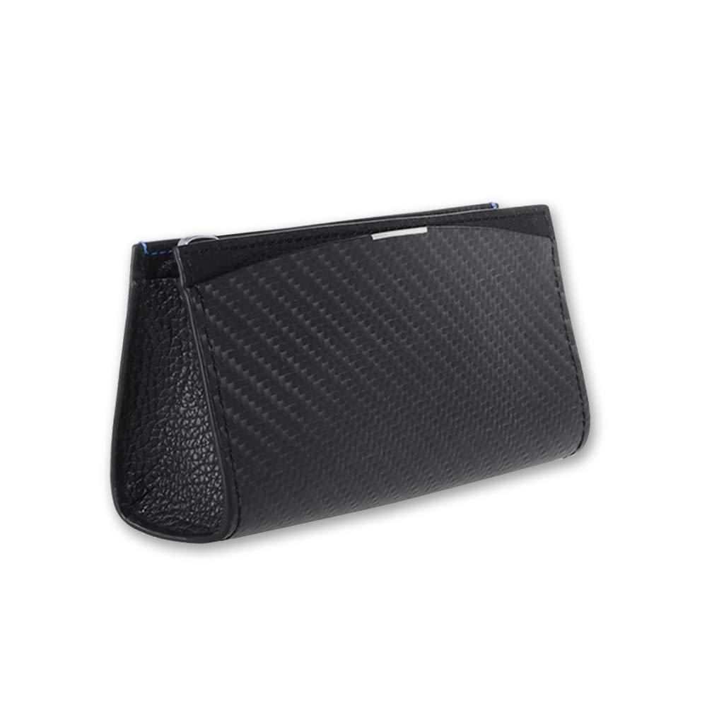 Minimalist Compact Unique Soft Carbon Fiber Leather Zippered Pouch Organizer [BlackLabel Multi-Purpose Pouch] for Travel