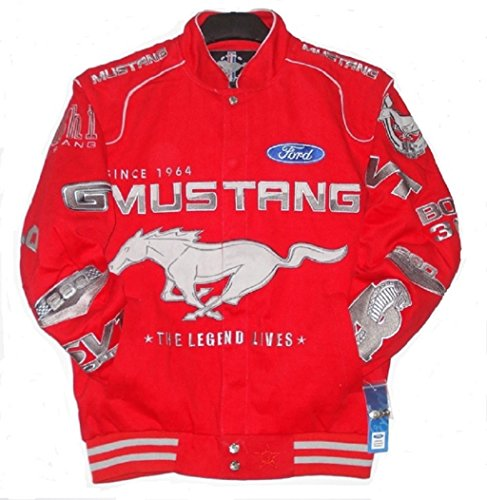 AUTHENTIC FORD MUSTANG RACING COTTON RED EMBROIDERED JACKET JH (Mustang Racing)