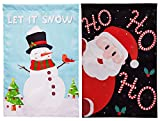 90shine 2PCS Christmas Garden Flag Decorations - Santa Claus Snowman Outdoor Yard Xmas Decors