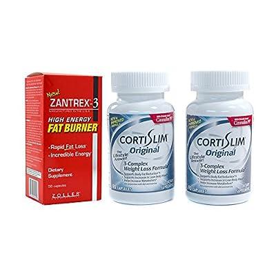 Basic Research Zantrex-3 High Energy Fat Burner 56 ea and Cortislim Original Two Bottles