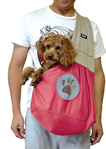 Teacup Puppy Sling Carrier for Cat Small Dog Pet Travel Shoulder Bag PUPTECK Pink