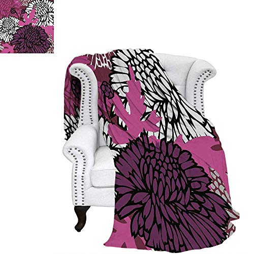 - WilliamsDecor Dahlia Oversized Travel Throw Cover Blanket Drawing of Large Chrysanthemum Blossoms and Buds in Shades of Purple Travel Throw Blanket 60