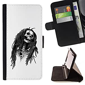 For LG OPTIMUS L90 Marley Rasta Skull Jamaica Singer Leather Foilo Wallet Cover Case with Magnetic Closure