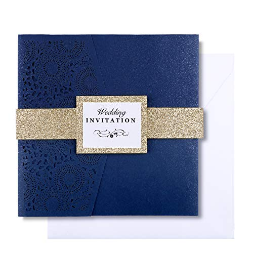 PONATIA 20 PCS Laser Cut 3 Folds Square Wedding Invitations Cards with Belt for Wedding Birthday Engagement Greeting Invitations Cards Use+ Free Envelopes+ Free RSVP Cards (Navy Blue)