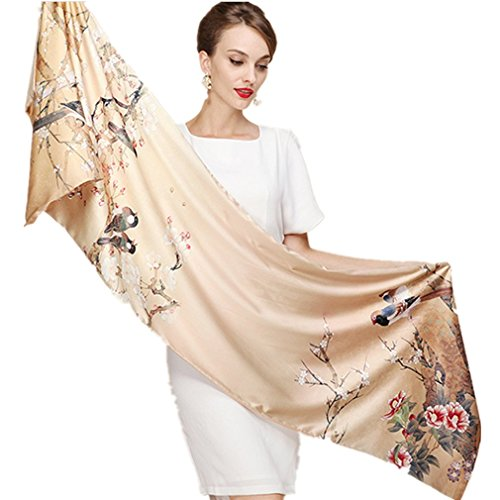 Longlove Shanghai Story Silk Scarves Thick Autumn and Winter Scarves Female Long Section of Double-sided Brushed Scarf Shawl Dual (Scarf-2017) (Scarf Thick Silk)