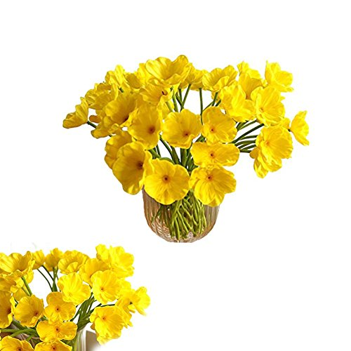 Tobway 10 PCS Artificial Mini Real Touch PU/ latex Corn Poppies Decorative Silk Fake Artificial Poppy Flowers for WeddingHoliday Bridal Bouquet Home Party Decor Bridesmaid Bouquets (Yellow)