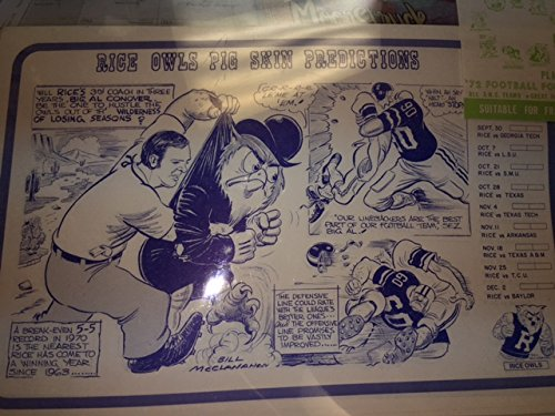 1972 SWC Rice University Owls Bill McClanahan Place Mat A...