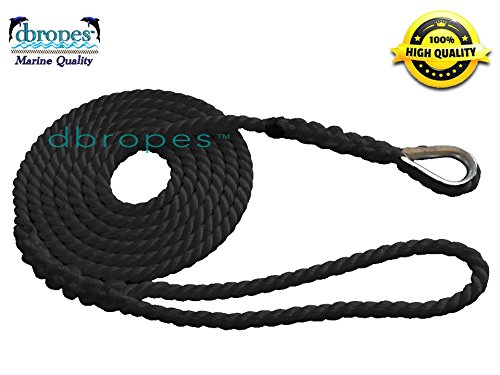 dbRopes 3 Strand Mooring Pendant Premium 100% Nylon Rope Black 1/2' X 12' with Thimble (Tensile Strength 6400 Lbs.)