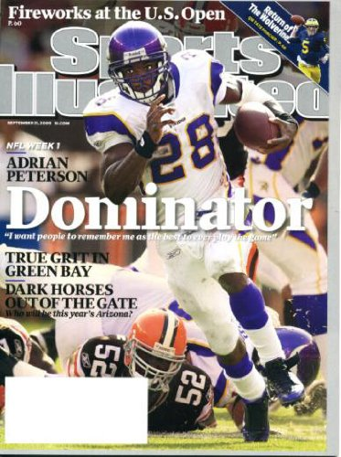 Sports Illustrated September 21 2009 Adrian Peterson/Minnesota Vikings on Cover, Drew Brees/New Orleans Saints, Rich Rodriguez/University of Michigan, Dave Duncan/St. Louis Cardinals, Tony Stewart/Nascar