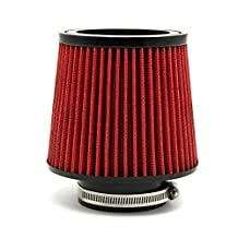 "Auto Cold Air Filter Inlet Cold Air Intake Filter Diameter 3""Pipe Round Tapered PU Material Red Universal"