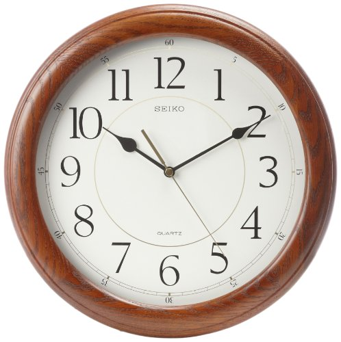 - Seiko Wall Clock Quiet Sweep Second Hand Dark Brown Solid Oak Case