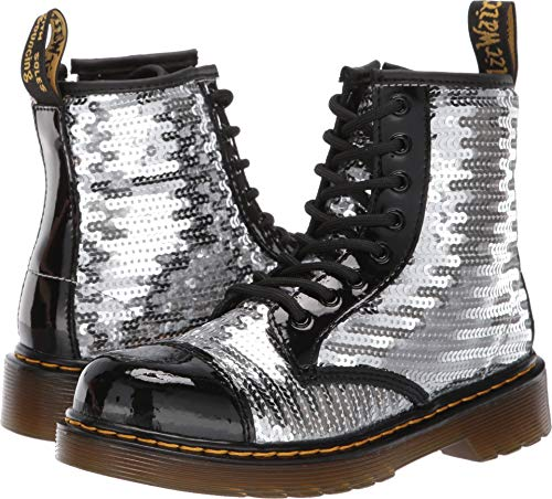 Dr. Martens Kid's Collection Girl's 1460 Pooch Sequins Boot (Little Kid/Big Kid) Black/Silver Sequin/Patent Lamper 13 M UK