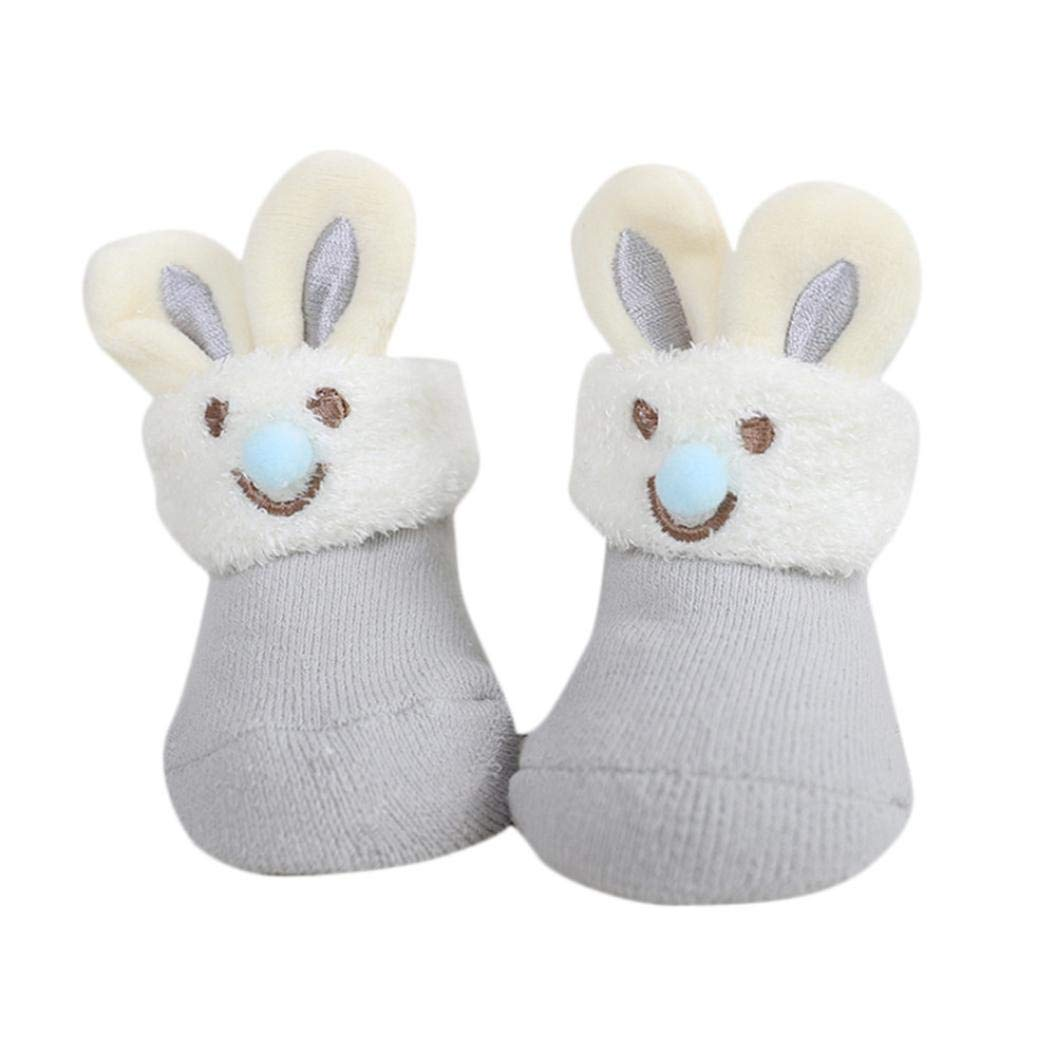 WARMSHOP 0-6 Months Cartoon Newborn Baby Girls Boys Thick Warm Anti-Slip Polyester Soft Floor Socks Slipper First Walkers (0-6 Months, Gray)