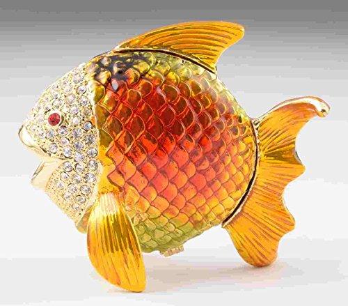 Keren Kopal Yellow Fish Faberge Styled Trinket Box Handmade Decorated with Swarovski Crystals - Fish Music Box