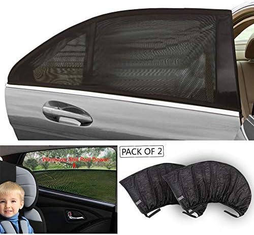 Tirolユニバーサルフィット車サイドウィンドウ赤ちゃんサンシェード(2パック)ブラックメッシュUV保護車ウィンドウ背面サイドウィンドウ太陽シェード3サイズ M 100x53.5cm T11724-M