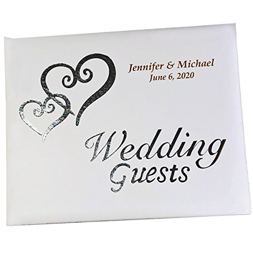 PERSONALIZED, Engraved Linked Hearts Wedding Guest Book Silver by Victoria (Personalized Wedding Guest Book)