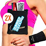 AVANTO Ninja Wrist Wallet, Ankle Wallet, Sweat Bands, Armband, Hidden Pouch, Wristlet Wallet for Travel, Running Pouch for Your Running Accessories, 2-Pack