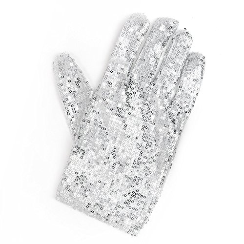 (Skeleteen Michael Jackson Sequin Glove - White Right Handed Glove Costume Accessory - 1)