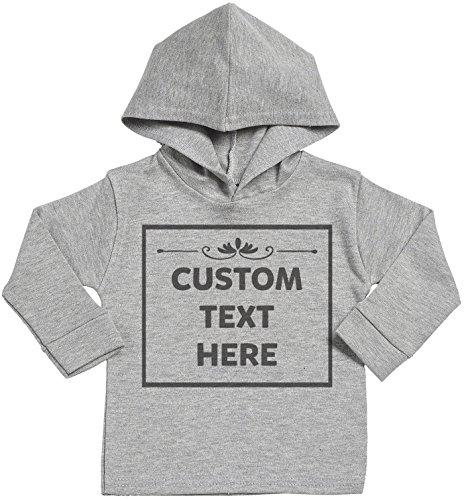 SR - Personalised Custom Text Here Baby Cotton Baby Hoodie - Personalised Baby Gift - Personalised Baby Clothing - Grey - 0-3 - Sr Clothing Custom