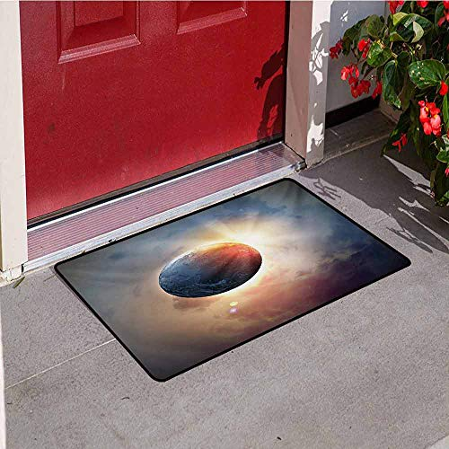 (Jinguizi World Welcome Door mat Days Cycle Theme Rising Sun Planet in Space Astronomy Cloudscape Atmosphere Door mat is odorless and Durable W35.4 x L47.2 Inch Yellow Blue Beige)