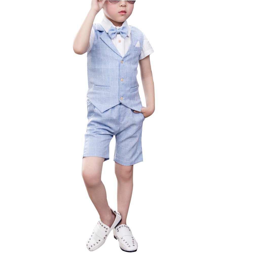 Zhhlaixing Boys 4 Piece High Quality Suit Wedding Party Trousers Shirt Waistcoat Tie X005#