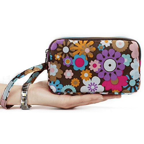 Bohemian Purse Wallet Canvas Floral Elephant Pattern Handbag with Coin Pocket and Strap For Women Girl (Colorful Flowers)