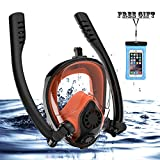 Full Face Snorkel Mask, HJKB K2 Free Breathing Snorkeling Mask with Double Tubes and 180° Panoramic Viewing, Zero Fog and Anti Leak Guarantee with Camera Mount for Adult (Orange, Medium Adult)