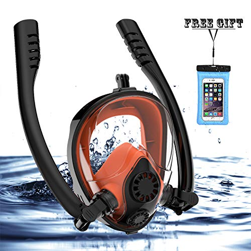 Jahuite Full Face Snorkel Mask Free Breathing Snorkeling Mask with Double Tubes and 180 Panoramic Viewing, Zero Fog and Anti Leak Guarantee with Camera Mount Diving Mask for Adult