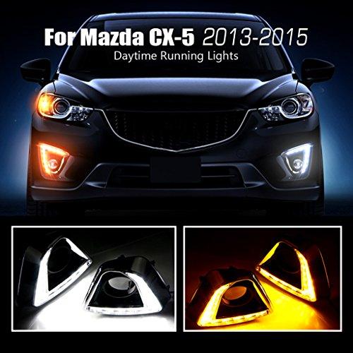 For Mazda CX-5 2013 2014 2015 Chrome Turn Signal Based Daytime Running Lights LED Assembly Fog Driving Lamp Kit Fog Lights Driving Lights (Scion Xb Rear Section)