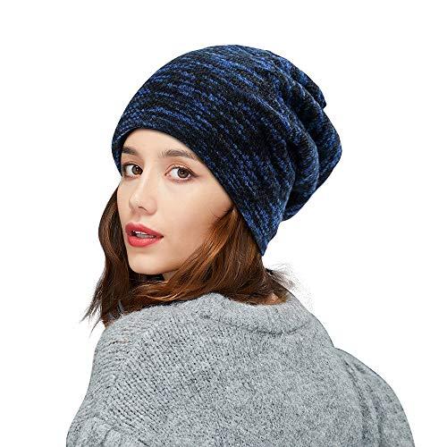 ZIQIAN Warm Knitted Hat, Unisex Beanie Lined Winter Hat Loose Knit Skull Cap for Men Women Teen Boys Girls Ladies Outdoor Sport (Blue)