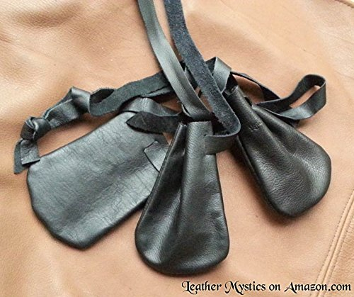 Leather Pouches Coin Dice Bags Three (3) BLACK - Made in USA