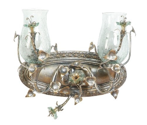 Yosemite Home Decor MGJ748 Morning Glory Handmade Two Light Bath Vanity with Nouvel Cracked Glass in Caribbean Gold Finish, 17.5