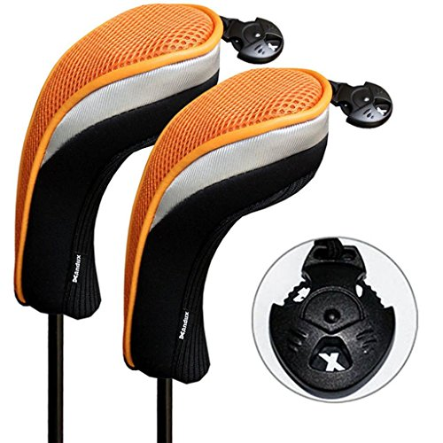 (Andux 2 Pack Golf Hybrid Club Head Covers Interchangeable No. Tag Mt/hy07 Black &)