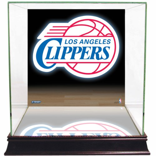 Los Angeles Clippers Glass - NBA Los Angeles Clippers Glass Basketball Display Case with Team Logo Background