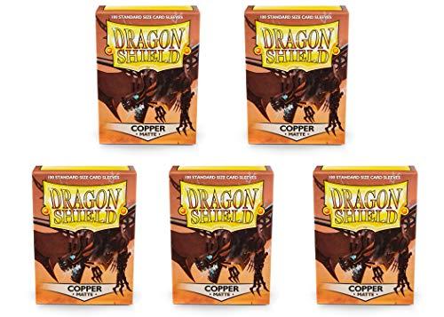 (5 Packs Dragon Shield Matte Copper Standard Size 100 ct Card Sleeves Value Bundle!)