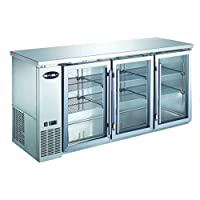 Heavy Duty Commercial Three Glass Door Stainless Steel Back Bar Refrigerator (24 Depth 72 Width)