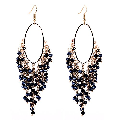 Drooping Crystals Beads Fashion Dangle Statement Earrings Hook For Women Crystal Dangle Bead Earrings