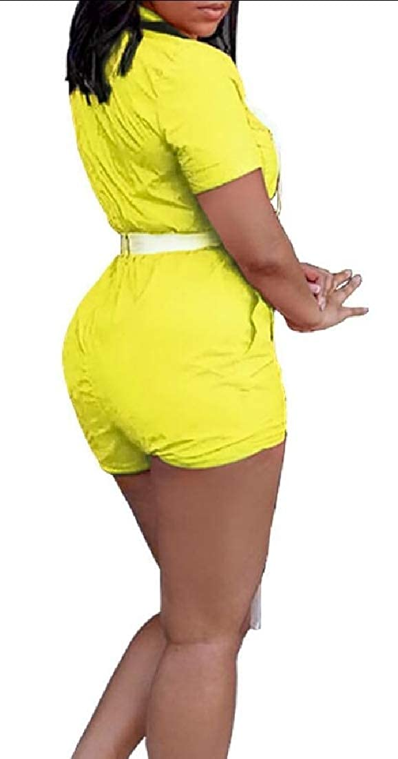GAGA Women Zipper Front Playsuit Short Sleeve Bodycon Shorts Romper