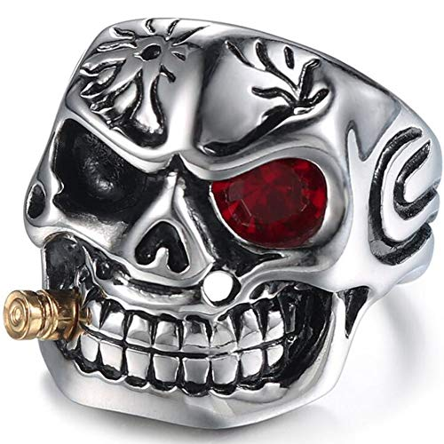 Motorcycle Ring - Jude Jewelers Vintage Stainless Steel Gothic Skull Smoking Bullet Biker Cocktail Party Ring (Red Stone, 10)