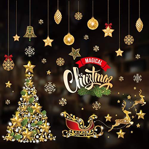 Gedston Snowflakes Clings Christmas Decorations Window Stickers Santa Claus Tree Elk Sleigh Wall Window Door Decal