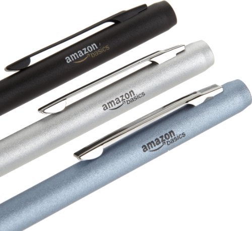 AmazonBasics 3-Pack Executive Stylus for Touchscreen Devices (Black, Silver, Blue)