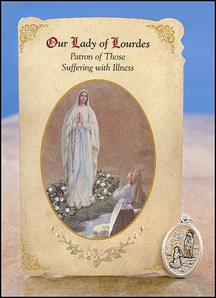Nuestra Señora de Lourdes/ST Bernadette curación Santa tarjeta con medalla, pack de 6: Amazon.es: Hogar
