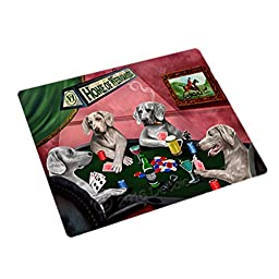 Home of 4 Weimaraner Dogs Playing Poker Large Stickers Sheet of 12