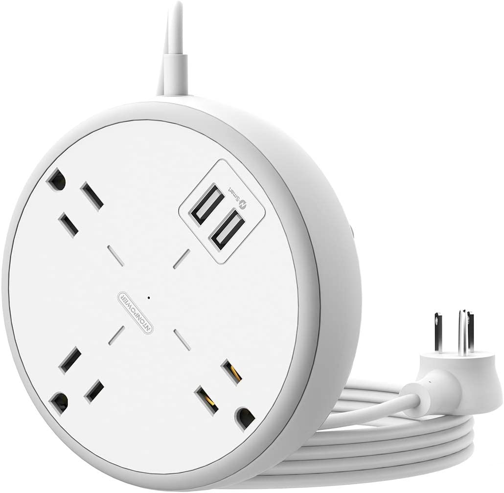 Power Strip Flat Plug with 15 ft Extension Cord