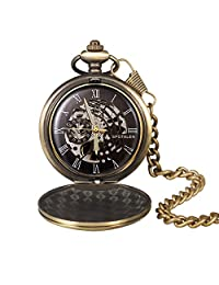 Mechanical Pocket Watch for Men Hand-Wind Skeleton Dial Retro Design Roman Numerals Fob Watch Bronze