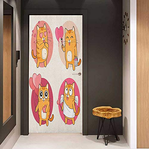 Onefzc Automatic Door Sticker Kitty Cartoon Cats Illustration Kitten in Love Painting a Heart Carrying Romantic Balloons Easy-to-Clean, Durable W38.5 x H77 - Kitten Lokis