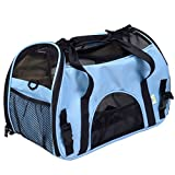 Super buy Large Pet Carrier OxFord Soft Sided Cat/Dog Comfort Travel Tote Shoulder Bag (Blue)